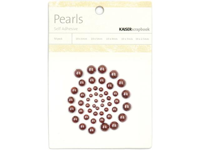 Self-Adhesive Pearls 50/Pkg-Chocolate