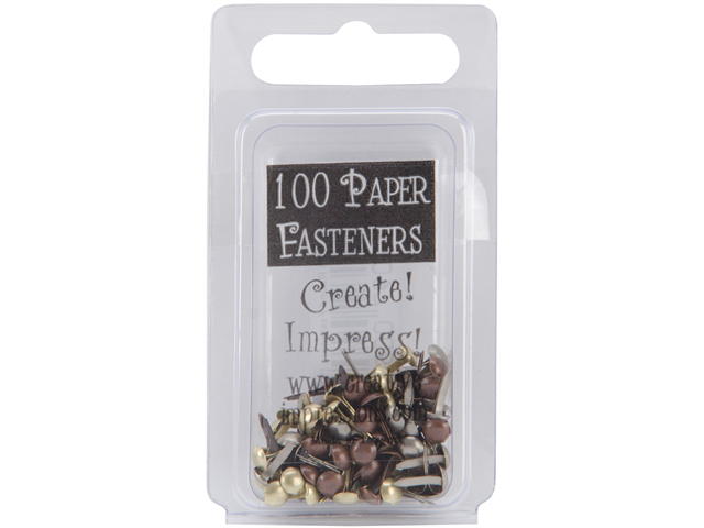 Mini Metal Paper Fasteners 100/Pkg-Antique - Round