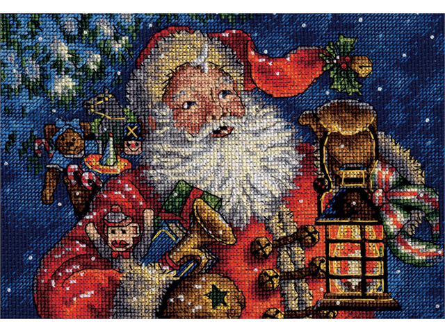 Gold Collection Petite Nighttime Santa Counted Cross Stitch -10