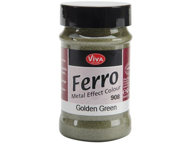 Ferro Metal Effect Textured Paint 3 Ounces-Golden Green