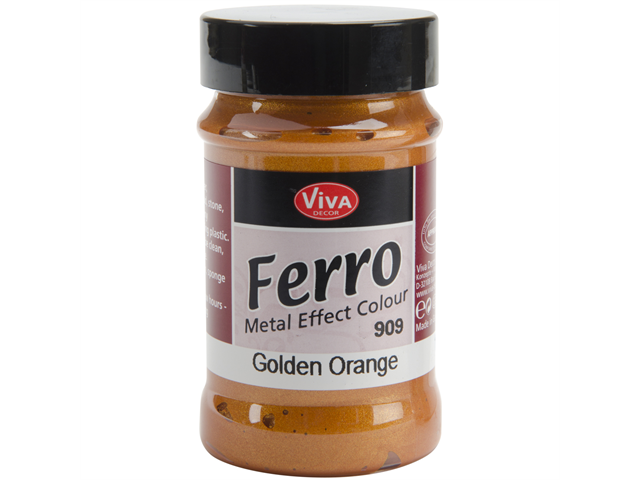Ferro Metal Effect Textured Paint 3 Ounces-Golden Orange