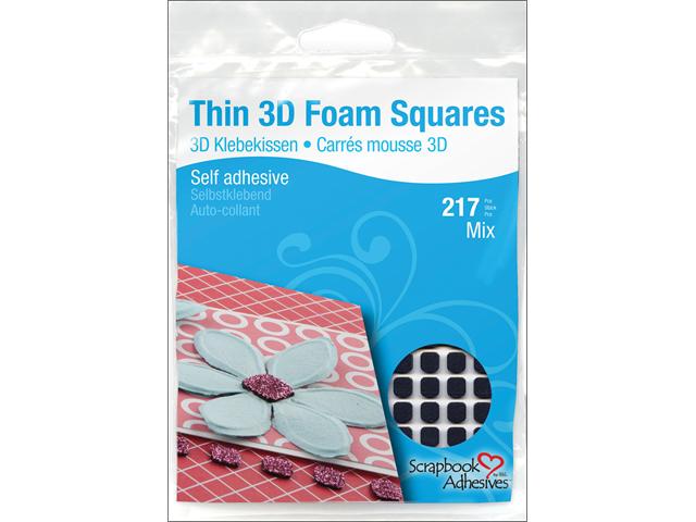 Thin 3D Foam Self-Adhesive Squares 217/Pkg-63-1x11x12, 154-1x6.35x6.35mm