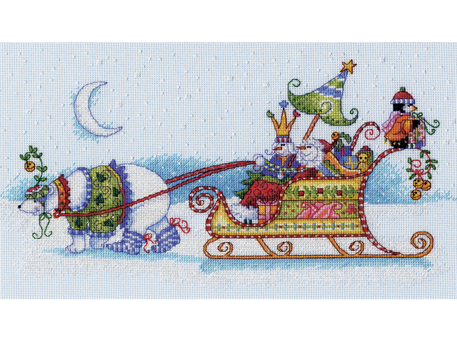 Snow Bear And Sleigh Counted Cross Stitch Kit-14