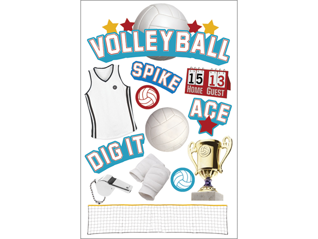 Paper House 3-D Sticker-Volleyball