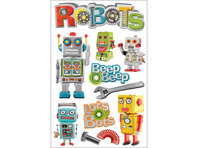 Paper House 3-D Sticker-Robots