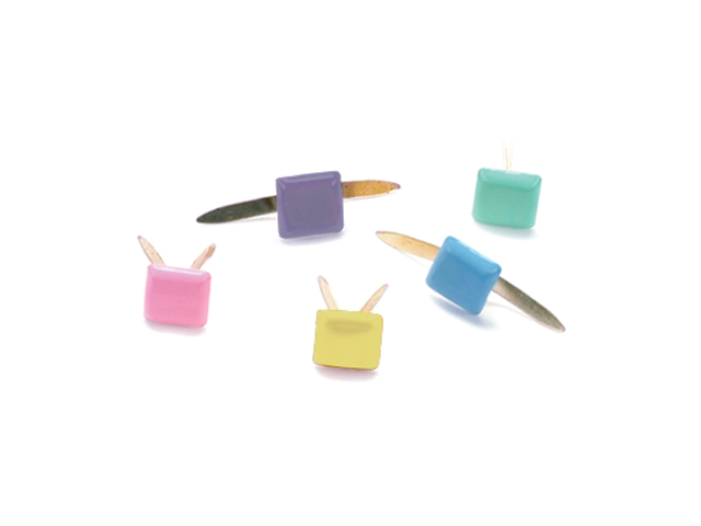 Mini Painted Metal Paper Fasteners 100/Pkg-Pastel - Square