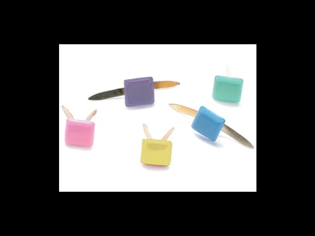 Mini Painted Metal Paper Fasteners 100/Pkg-Pastel - Square