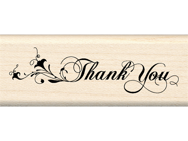 Inkadinkado Wood Mounted Rubber Stamp K-Thank You Flourish