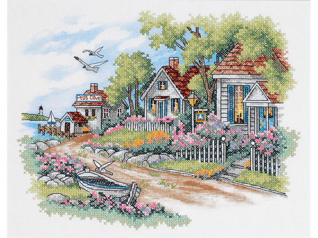 Cottages By The Sea Stamped Cross Stitch Kit-14