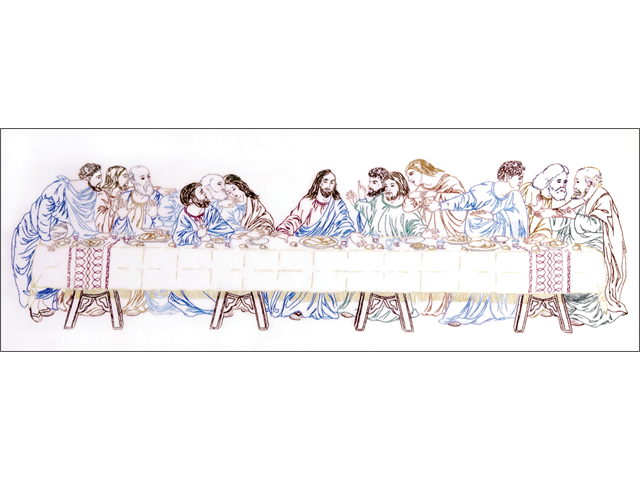 Last Supper Stamped Embroidery Kit-9