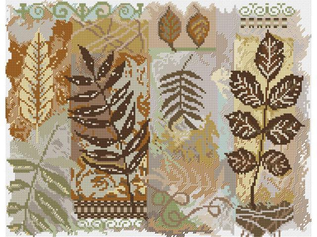 Abstractions Leaves Counted Cross Stitch Kit-14