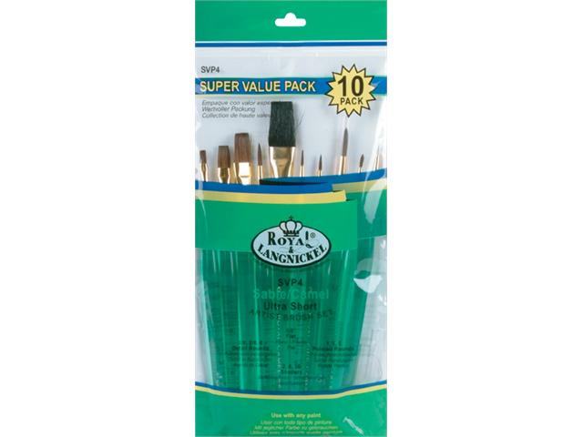 Brush Set Super Value Pack Sable/Camel Ultra Short 10/Pkg-Flat 5/8