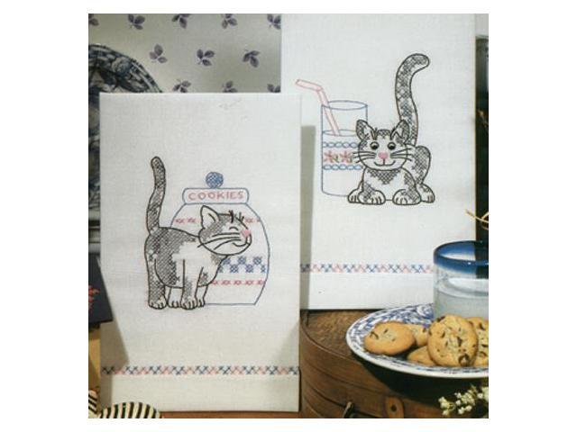 Stamped Kitchen Towels For Embroidery-Kittens