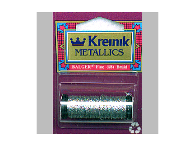Kreinik Fine Metallic Corded Braid #8 10 Meters (11 Yards)-Silver