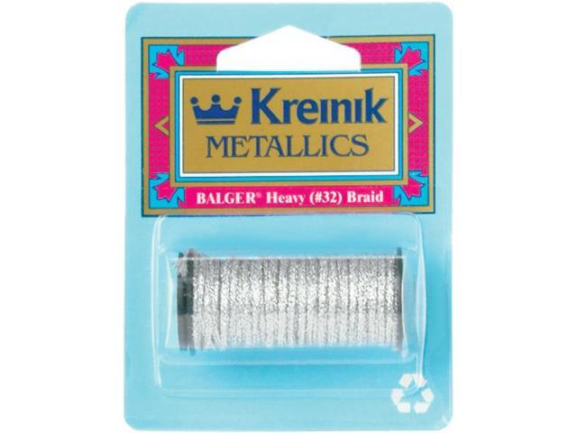 Kreinik Heavy Metallic Braid #32 5 Meters (5-1/2 Yards)-Silver