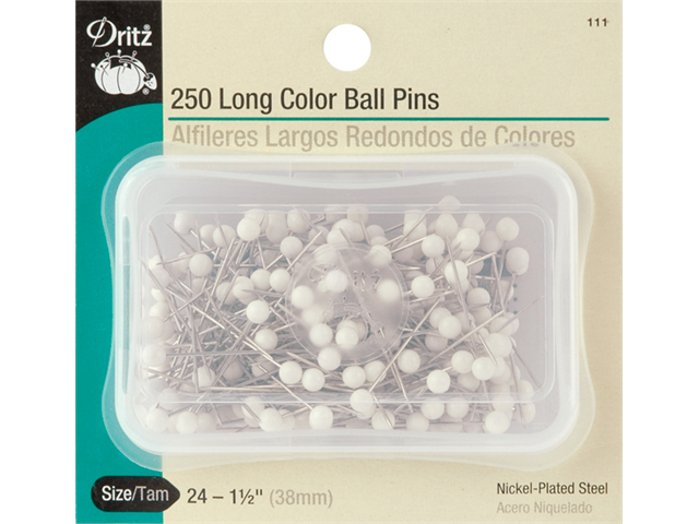 Long Color Ball Pins-Size 24 250/Pkg