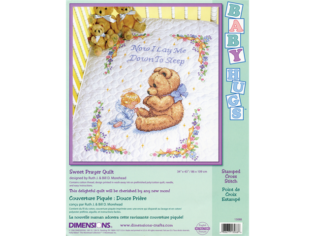 Baby Hugs Sweet Prayer Quilt Stamped Cross Stitch Kit-34