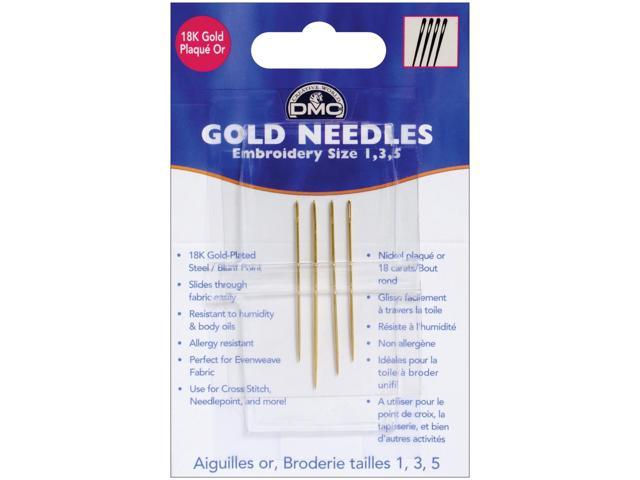Gold Embroidery Hand Needles-Sizes 1/3/5 4/Pkg