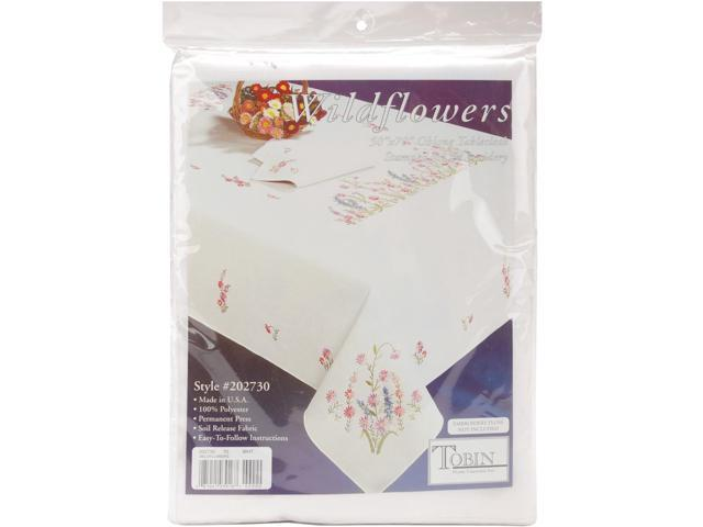 Wildflowers Stamped Oblong Tablecloth For Embroidery-50
