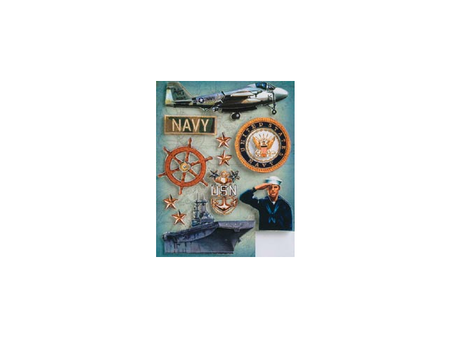 Military Grand Adhesions Embellishments-Navy