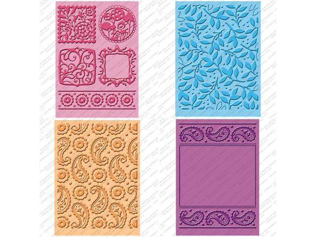 Cuttlebug Cricut Companion Embossing Folder Bundle 4/Pkg-Cindy Loo (2) 5x7 & (2) A2 Sizes