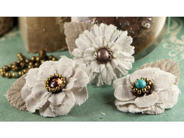 Flaxence Fabric Flowers With Gem & Beads 2