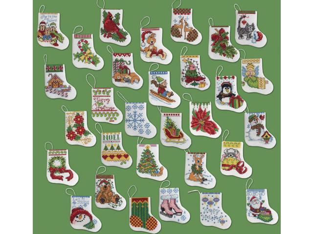 More Tiny Stockings Ornaments Counted Cross Stitch Kit-2-1/2