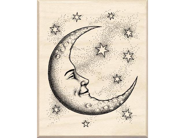 Inkadinkado Wood Mounted Rubber Stamp CC-Crescent Moon