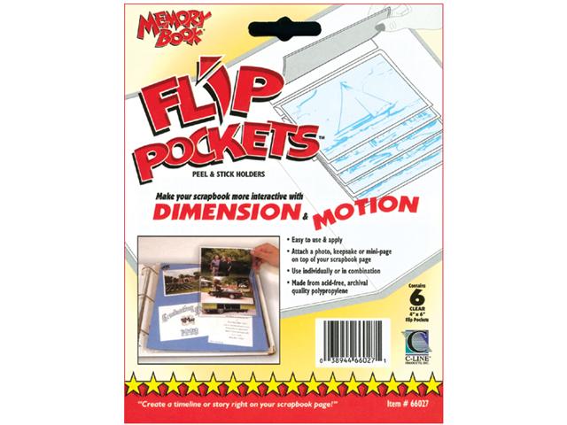 Flip Pockets Peel & Stick Holders 6/Pkg-Clear 4