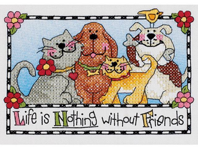 Life Is Nothing Without Friends Mini Stamped Cross Stitch Ki-7