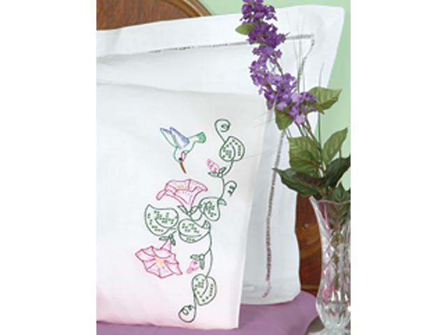 Stamped Pillowcases With White Perle Edge 2/Pkg-Hummingbird & Morning Glories