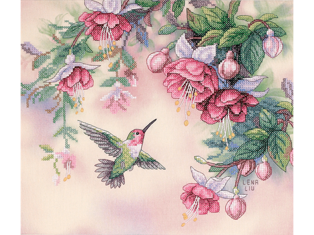 Hummingbird & Fuchsias Stamped Cross Stitch Kit-14