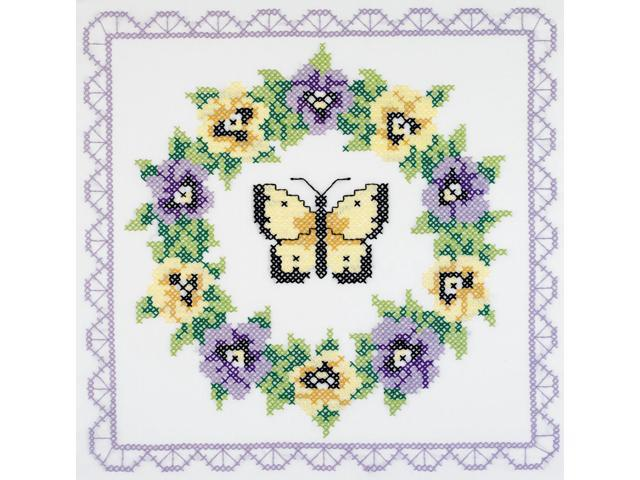 Pansy Wreath Quilt Blocks Stamped Cross Stitch -18