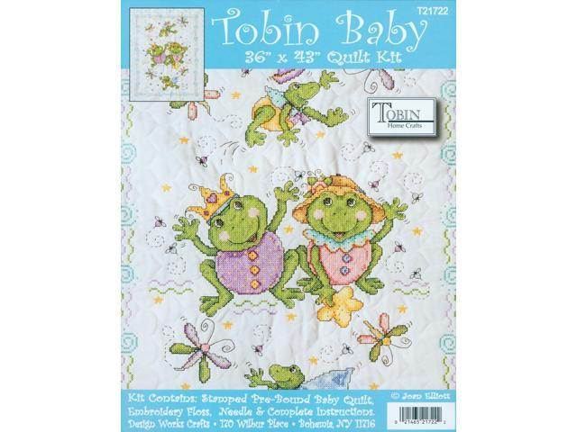 Frog Family Quilt Stamped Cross Stitch Kit-36