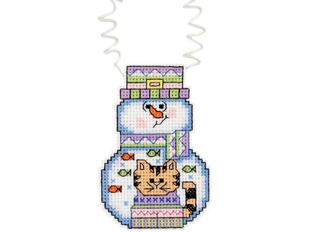 Holiday Wizzers Snowman With Cat Counted Cross Stitch Kit-3