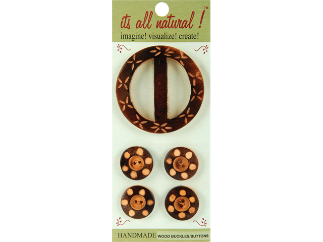 Handmade Wood Buckle & Buttons-Carved Circles 5/Pkg
