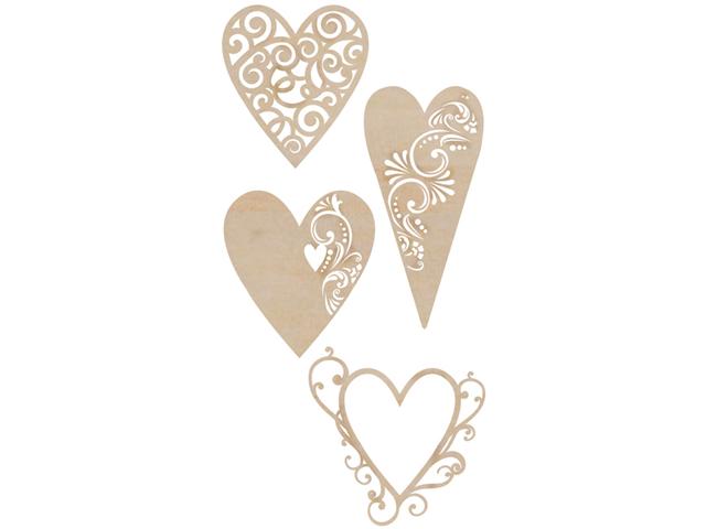 Wood Flourishes 4/Pkg-Fancy Hearts
