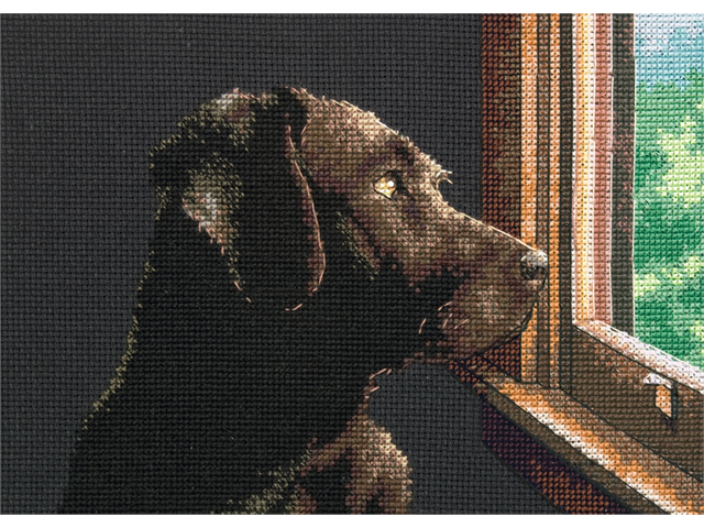 Gold Petite Pondering Pup Counted Cross Stitch Kit-7