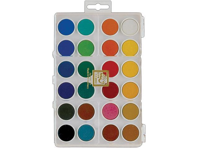 Dry Pan Watercolor Paint Cakes 24/Pkg-Assorted Colors