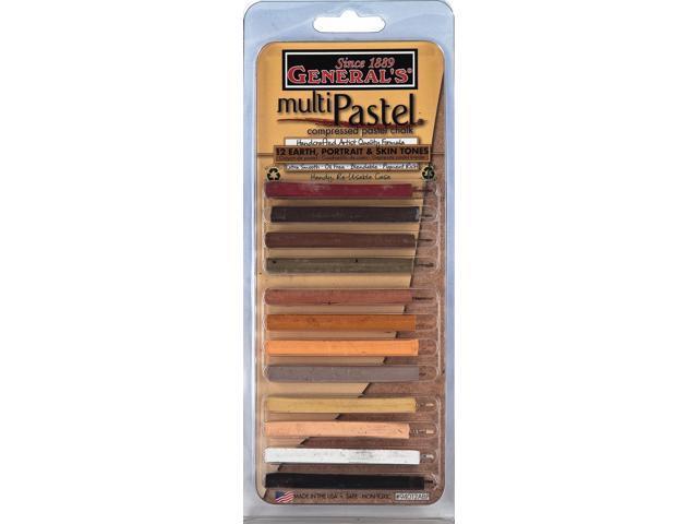 General's Multi Pastel Compressed Chalk Sticks 12/Pkg-Earth/Portrait/Skin Tones