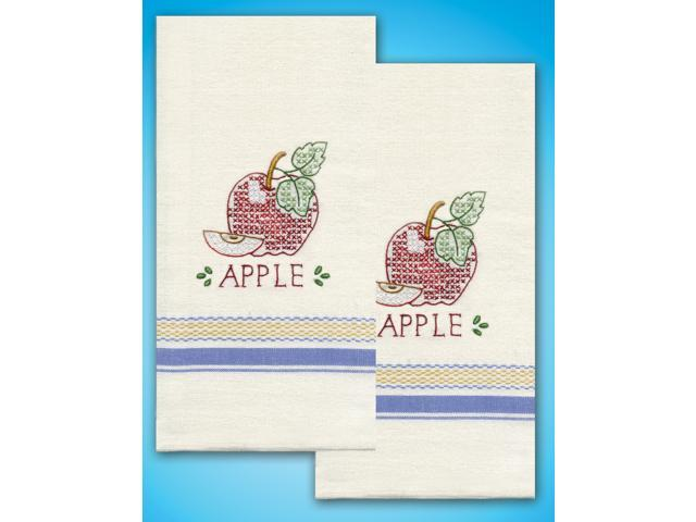 Stamped Kitchen Towels For Embroidery-Apple