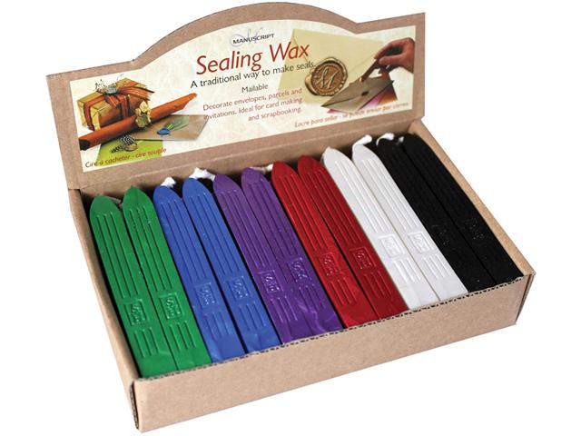Traditional Seal Wax Sticks W/Wick-Lt Multi-Purple/Pink/L.Green/L.Blu/Pearl