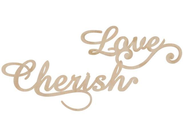 Wood Flourishes 2/Pkg-Love & Cherish
