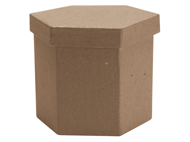 Paper Mache Tall Hexagon Box-3