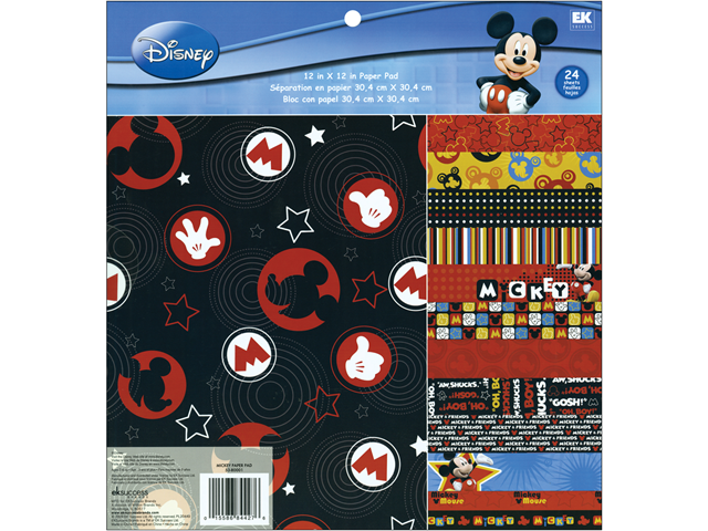"Disney Paper Pad 12""X12"" 24 Sheets-Mickey 12 Designs/2 Each"