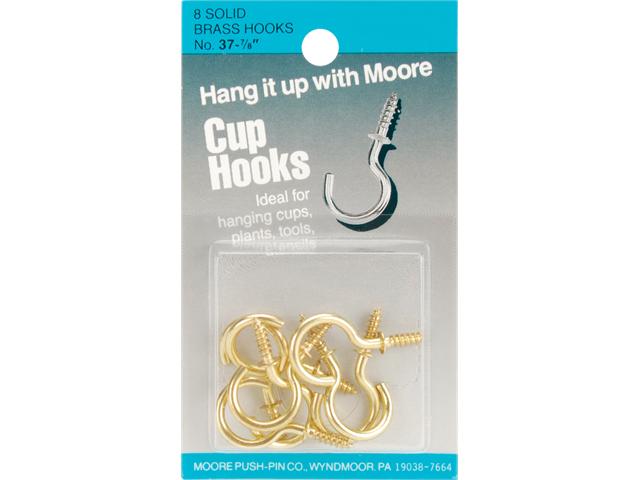Brass Cup Hooks 8/Pkg-
