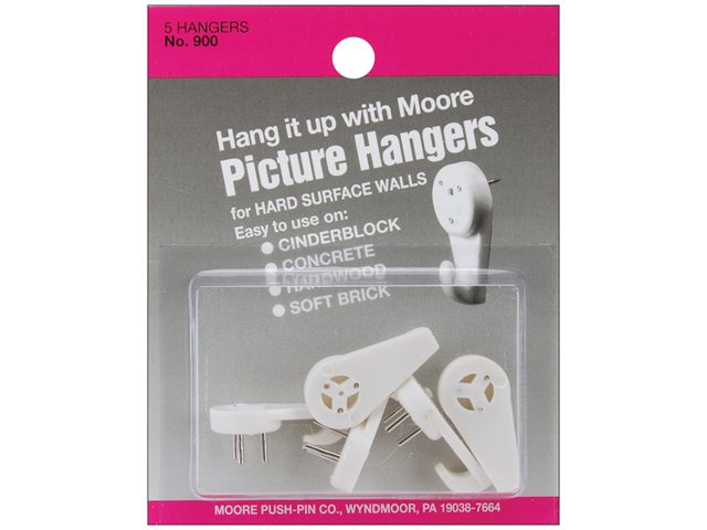 Hard Surface Picture Hangers 5/Pkg-
