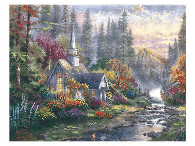 Thomas Kinkade Forest Chapel Counted Cross Stitch Kit-14