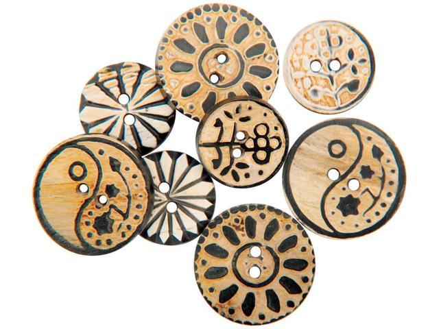 Handmade Bone Buttons-Carved Circle Designs 8/Pkg
