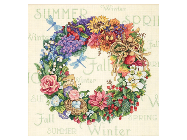 Gold Collection Wreath Of All Seasons Counted Cross Stitch K-14